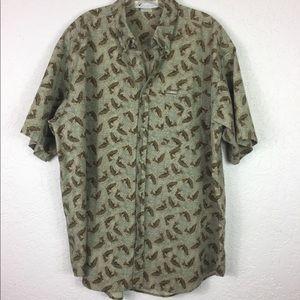 Columbia men's Button down s/s camp shirt fish L